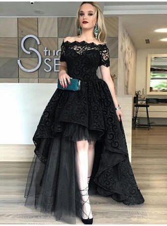 A-Line/Princess Off-the-Shoulder Tulle Short Sleeves Asymmetrical Evening Dresses