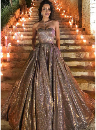 Princess Sequined Prom Dresses Ball-Gown Sweep Train Sweetheart Sleeveless