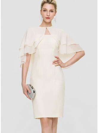Sheath/Column Square Neckline Knee-Length Chiffon Cocktail Dress
