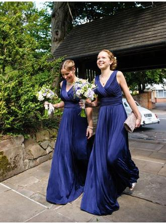 A-Line/Princess V-neck Floor-Length Satin Chiffon Bridesmaid Dress With Ruffle