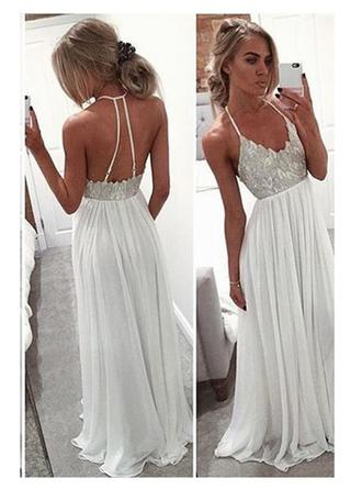 Chiffon Sleeveless A-Line/Princess Prom Dresses V-neck Sequins Floor-Length