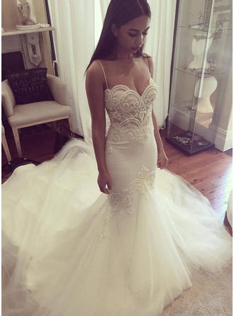 Sweetheart Trumpet/Mermaid Wedding Dresses Tulle Sleeveless Chapel Train