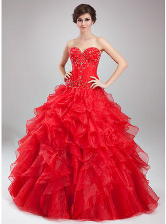 Ball-Gown Sweetheart Floor-Length Satin Organza Prom Dress With Beading Cascading Ruffles