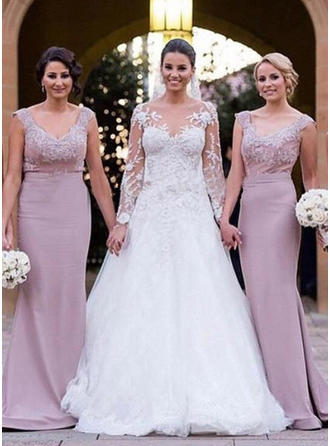 Trumpet/Mermaid Sleeveless V-neck Lace Jersey Bridesmaid Dresses