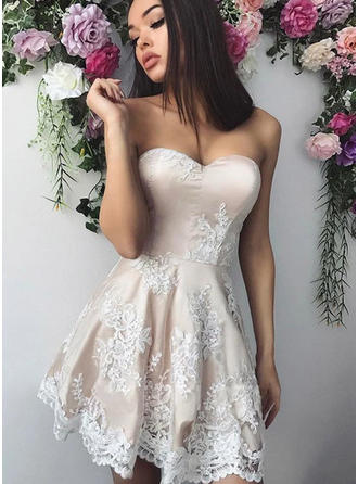 A-Line/Princess Short/Mini Satin Sweetheart Homecoming Dresses