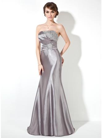 Trumpet/Mermaid Prom Dresses Modern Sweep Train Strapless Sleeveless
