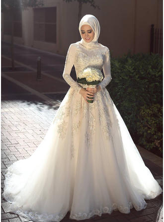 Scoop A-Line/Princess Wedding Dresses Tulle Appliques Lace Long Sleeves Sweep Train (002217912)