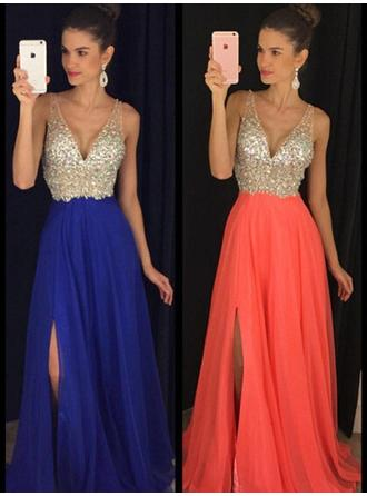 Chiffon Sleeveless A-Line/Princess Prom Dresses V-neck Beading Floor-Length