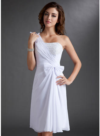 Sheath/Column Ruffle Beading Bow(s) Chiffon Homecoming Dresses One-Shoulder Sleeveless Knee-Length