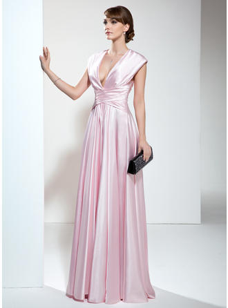 A-Line/Princess V-neck Floor-Length Charmeuse Mother of the Bride Dress With Ruffle