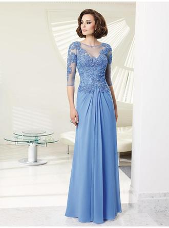 Scoop Neck Floor-Length Mother of the Bride Dresses With Lace