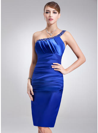 Sheath/Column One-Shoulder Knee-Length Cocktail Dresses With Ruffle Beading