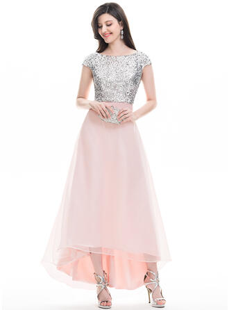 A-Line Scoop Neck Asymmetrical Organza Prom Dresses