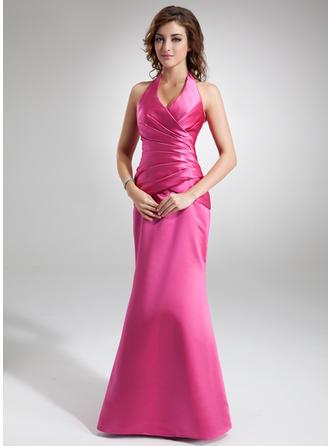 Trumpet/Mermaid Halter Floor-Length Satin Prom Dress With Ruffle
