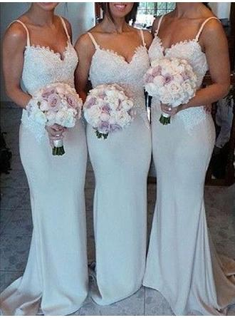 Trumpet/Mermaid Lace Jersey Bridesmaid Dresses Sweetheart Sleeveless Sweep Train