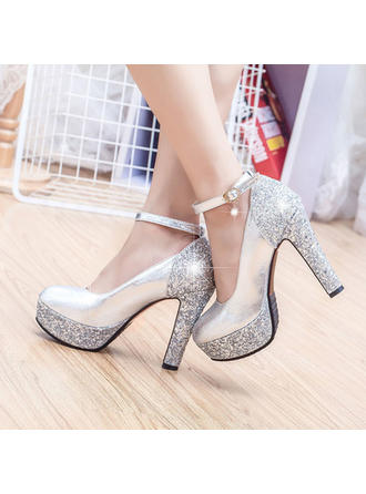 Women's Closed Toe Platform Pumps Chunky Heel Leatherette With Sparkling Glitter Wedding Shoes