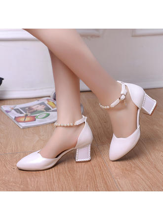 Women's Closed Toe Pumps Chunky Heel Leatherette With Imitation Pearl Wedding Shoes