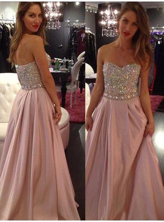 Chiffon Sleeveless A-Line/Princess Prom Dresses Sweetheart Beading Floor-Length