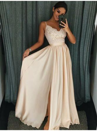 Newest V-neck Sleeveless Prom Dresses Floor-Length Chiffon A-Line/Princess