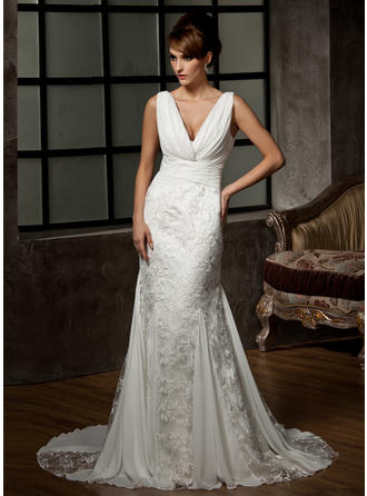 Trumpet/Mermaid V-neck Court Train Chiffon Lace Wedding Dress With Ruffle