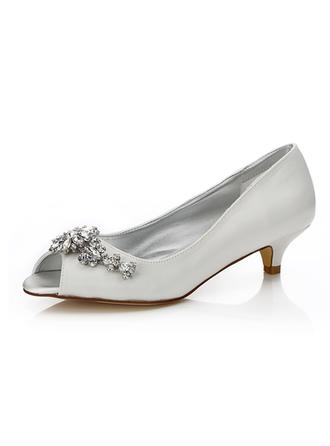 Women's Peep Toe Dyeable Shoes Low Heel Satin With Rhinestone Wedding Shoes