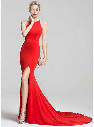 Trumpet/Mermaid Scoop Neck Court Train Jersey Prom Dresses With Split Front