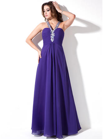 Chiffon Sleeveless A-Line/Princess Prom Dresses V-neck Ruffle Beading Floor-Length