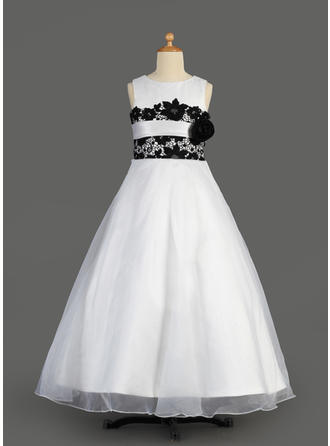 A-Line/Princess Scoop Neck Floor-length With Lace Organza/Satin Flower Girl Dress