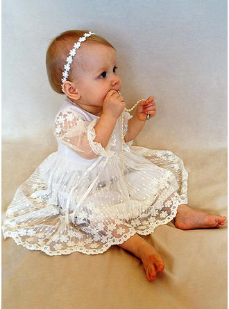 Scoop Neck A-Line/Princess Flower Girl Dresses Lace Flower(s) 1/2 Sleeves Tea-length