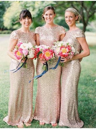Sheath/Column Floor-Length Sequined Scoop Neck Bridesmaid Dresses