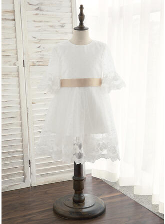 A-Line Knee-length Flower Girl Dress - Satin/Tulle 1/2 Sleeves Scoop Neck With Sash/Bow(s)