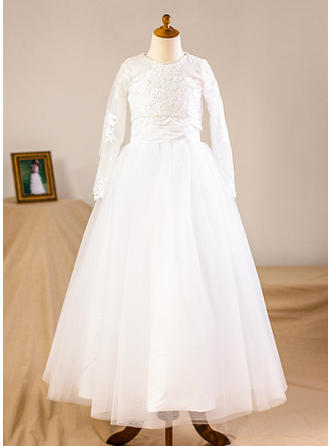 A-Line/Princess Floor-length Flower Girl Dress - Tulle/Lace Long Sleeves Scoop Neck (Wrap included)