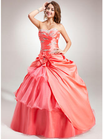 Ball-Gown Sweetheart Floor-Length Taffeta Organza Prom Dress With Beading Flower(s) Cascading Ruffles