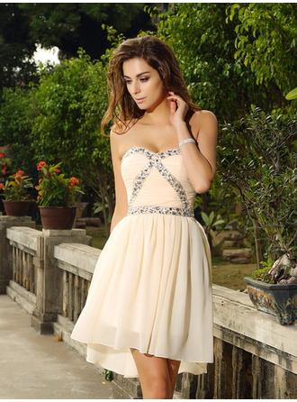 A-Line/Princess Sweetheart Asymmetrical Chiffon Cocktail Dress With Ruffle Beading Sequins