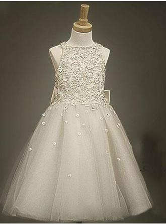 A-Line/Princess Scoop Neck Tea-length With Bow(s) Tulle/Lace Flower Girl Dress