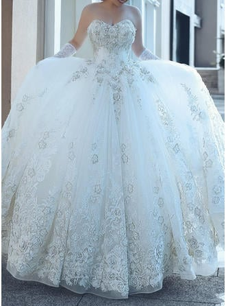 Ball-Gown Tulle Sleeveless Sweetheart Cathedral Train Strapless Wedding Dresses