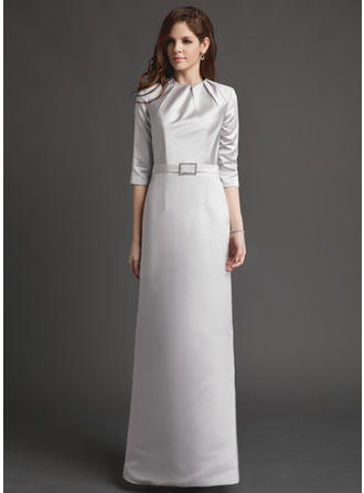 Flattering Floor-Length Sheath/Column Satin Mother of the Bride Dresses