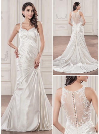 Princess Chapel Train Trumpet/Mermaid Wedding Dresses Sweetheart Charmeuse Sleeveless
