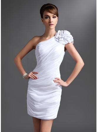 Chiffon Sleeveless Mother of the Bride Dresses One-Shoulder Sheath/Column Ruffle Flower(s) Short/Mini