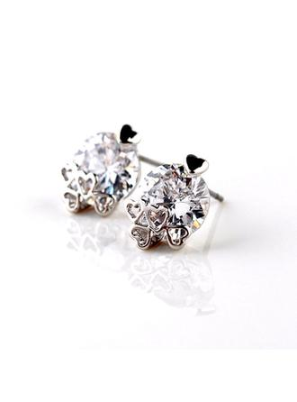 "Earrings Zircon/Platinum Plated Pierced Classic 0.47""(Approx.1.2cm) Wedding & Party Jewelry"