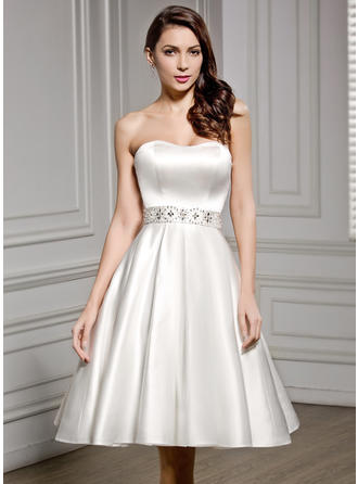 Satin A-Line/Princess Newest Beading Sequins Wedding Dresses