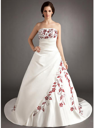 Stunning Chapel Train A-Line/Princess Wedding Dresses Strapless Satin Sleeveless