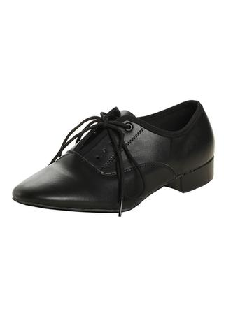 Men's Ballroom Heels Real Leather With Lace-up Dance Shoes