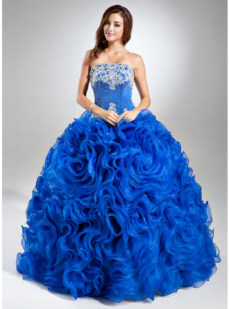 Organza Sleeveless Ball-Gown Prom Dresses Strapless Lace Beading Sequins Cascading Ruffles Floor-Length