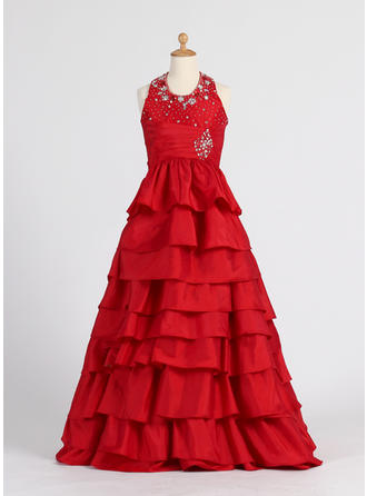 A-Line/Princess Halter Floor-length With Ruffles/Beading Taffeta Flower Girl Dress