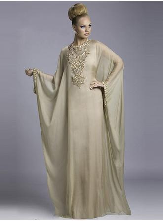 Sheath/Column Scoop Neck Floor-Length Evening Dresses With Beading