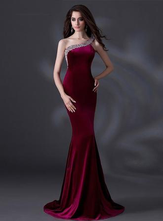 Trumpet/Mermaid One-Shoulder Court Train Evening Dresses With Beading