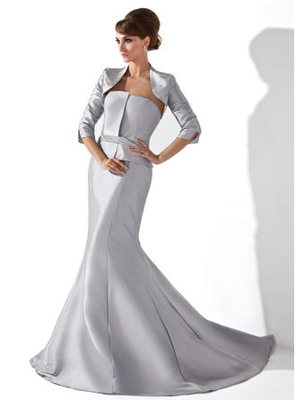 Trumpet/Mermaid Taffeta Sleeveless Strapless Court Train Zipper Up Mother of the Bride Dresses