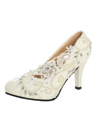 Women's Closed Toe Pumps Cone Heel Patent Leather With Imitation Pearl Rhinestone Stitching Lace Flower Wedding Shoes