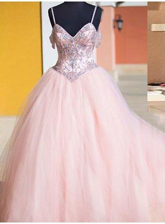 Ball-Gown V-neck Floor-Length Tulle Prom Dress With Beading (018210385)